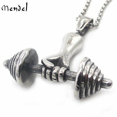 $11.99 • Buy MENDEL Mens Stainless Steel Barbell Dumbbell Necklace Gym Weight Lifting Pendant