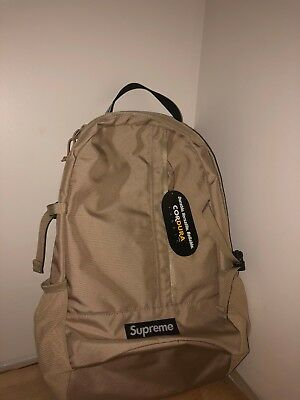 $ CDN350 • Buy Supreme Cordura Backpack (SS18) Tan , WHITE BOX LOGO