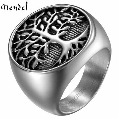 $9.99 • Buy MENDEL Mens Stainless Steel Celtic Tree Of Life Band Ring Black Silver Size 7-15