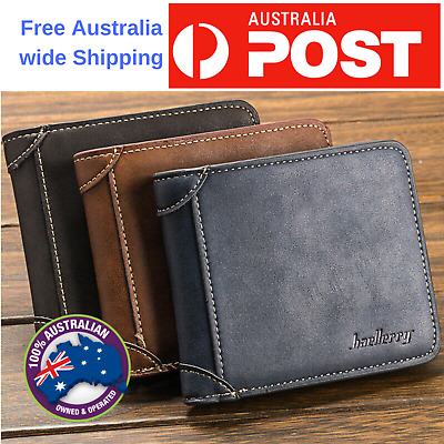 AU10.99 • Buy Leather Man Wallet Purse Credit Card Slot Men's Money Bag Nurse Id Card Holder