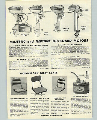 $9.97 • Buy 1956 PAPER AD Majestic 15 5 3 HP Neptune Mighty Mite 1.7 HP Outboard Motor