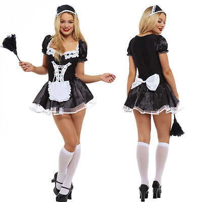 £14.99 • Buy Women French Maid Fancy Dress Costume Outfit Hen Party Naught Feather Duster LOT