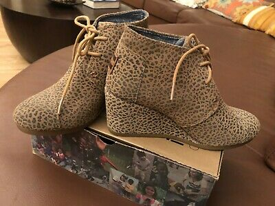 ba64cf50bed4 Cheetah Desert Suede Wedge Lace-Up Booties By TOMS In Size 6B • 40.00