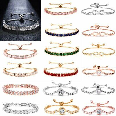 $1.10 • Buy Luxury Women Zircon CZ Crystal Cuff Gold Bracelet Bangle Chain Wedding Jewelry