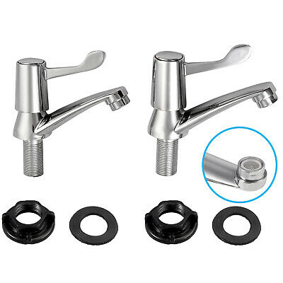 £13.99 • Buy Lever Basin Sink Taps Pair Pillar Disabled 1/4 Turn Chrome 1/2 Threaded Hot Cold