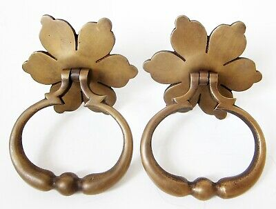 Set Of 2 LARGE SOLID BRASS DOOR KNOCKERS, Flower With Ring Shape, 630g Pair New • 29.47£