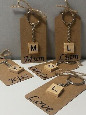 WOODEN SCRABBLE KEY RING LETTER & NAME,VALENTINE, Friend, Gift, Mother • 2.50£