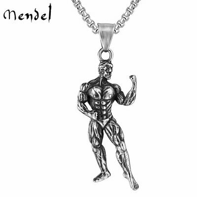 $11.99 • Buy MENDEL Mens Stainless Steel Fitness Workout Gym Bodybuilding Pendant Necklace