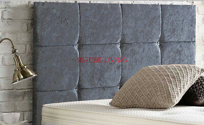 Crushed Velvet Bed Headboard 12 Cube  20  - Small Double King Superking • 35.99£