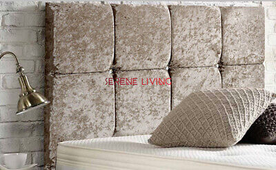 8 Cube Deluxe Crushed Velvet 20  Headboard - Single - Double - King Size • 41.99£