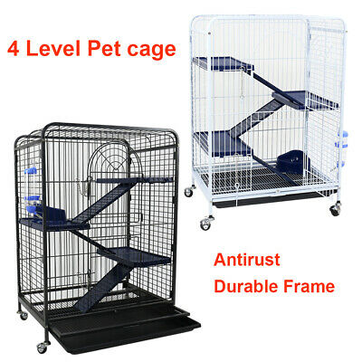 AU119.99 • Buy Metal Pet Pig Rabbit Ferret Cage Small Animal Hutch Habitat Movable House 4Level