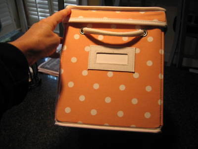 $19.99 • Buy POTTERY BARN TEEN Peach Polka Dot DOTTIE Canvas Storage Bin Box With Lid