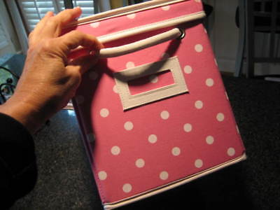 $19.99 • Buy POTTERY BARN TEEN Pink Polka Dot DOTTIE Canvas Storage Bin Box With Lid