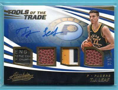 AU62.82 • Buy 2017-18 Absolute TOOLS OF THE TRADE BLUE T.J. Leaf #/5 RC AUTO TAG PATCH PACERS
