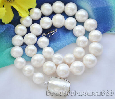 $58 • Buy Z6735 A++ 14mm ROUND WHITE Freshwater Cultured PEARL NECKLACE Mabe CLASP 17inch