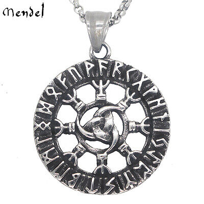 MENDEL Nordic Jewelry Viking Rune Necklace Pendant Stainless Steel Odin Amulet • 8.69£