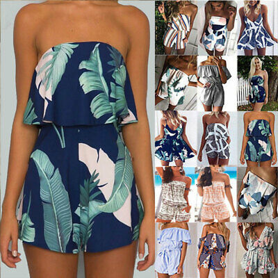 Womens Ladies Summer Boho Sleeveless Playsuits Floral Beach Jumpsuits Size 6-18 • 6.99£