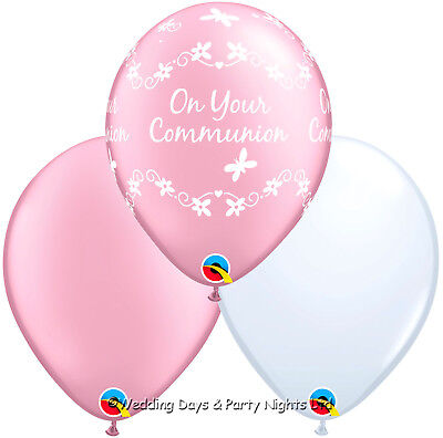 15 Girls Holy Communion Pink + White Helium / Air Balloons Party Decorations   • 4.79£