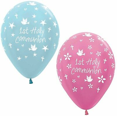 10 1st First Holy Communion Pink Or Blue Helium/Air Balloons Party Decorations • 2.89£