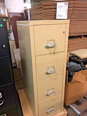 4Dr 28 1/2 D Letter Fire-Proof File Cabinet By Fire King W/ Lock & Key In Beige • 590$