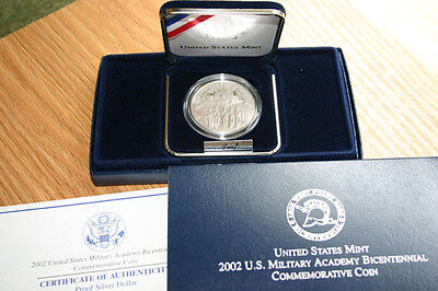 $40.75 • Buy 2002 West Point Military Academy PROOF 90% Silver Dollar US Mint Coin Box + COA