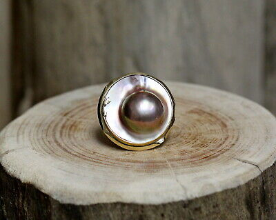 $750 • Buy 14Kt Yellow Gold Mabe Pearl Ring Size 8 !