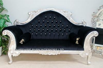 Ornate French Silver Louis Cuddler Black Double Ended Medium Chaise Small Sofa • 899£