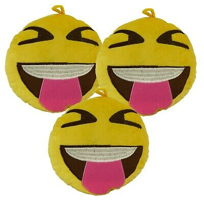 Pack Of 3 Emoji Plush Soft Toy Cushion - 1 X TONGUE OUT + CHOOSE 2 MORE DESIGNS • 9.95£