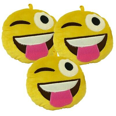 Pack Of 3 Emoji Plush Toy Cushion - 1 X WINKING TONGUE + CHOOSE 2 MORE DESIGNS • 9.95£