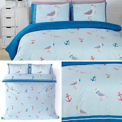 Blue Duvet Covers Seagulls Nautical Seaside Anchor Beach Quilt Cover Bedding Set • 16.95£
