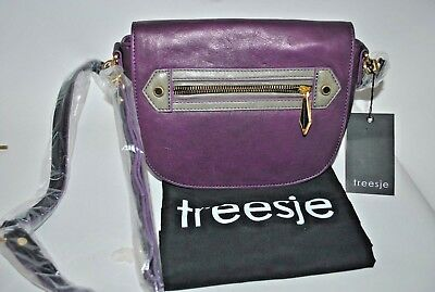 $21.95 • Buy TREESJE Purple Leather Crossbody Shoulder Purse W/ Dust Cover NWT