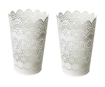 $18.99 • Buy Set Of 2 - Ikea SKURAR Lantern For Block Candle Holder Lace Steel, White 9  NEW