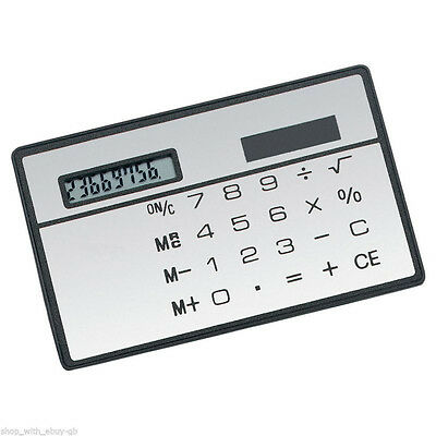 Mini Credit Card Solar Power Pockets Calculator Novelty Small Travel Compact • 7.75£