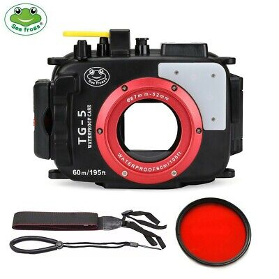 SeaFrogs 60m/195ft Underwater Camera Housing Case For Olympus TG5 W/ Red Filter • 139£