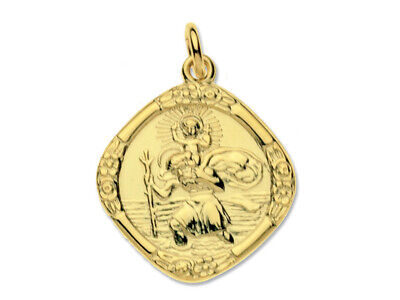 9ct Gold Hallmarked Travel Scene St Christopher On Heavy Trace Chain • 199.95£