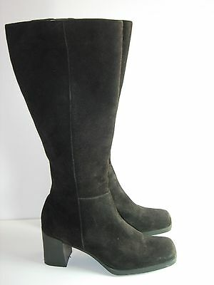$18.99 • Buy Womens Black Suede Amanda Smith Career Knee High Boots Heels Shoes Size 8.5 M