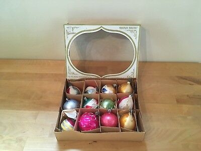 $ CDN49.98 • Buy Box Of 12 Vintage Glass Christmas Ornaments W/ Mica/Glitter - Hand Painted