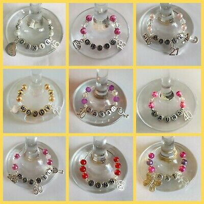Birthday Wine/gin Glass Charms (personalised With Charm & Name)  • 2.50£