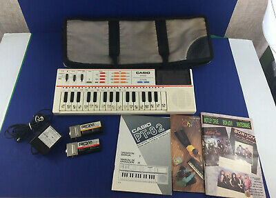 $49.99 • Buy Vintage Casio PT-82 Mini Keyboard W 2 Rom Cartridges Power Adapter Manuals Case