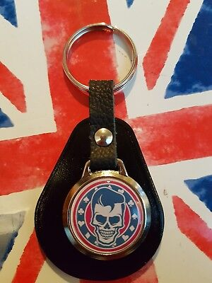 Teddy Boy Skull Rocker Billy  Rock N Roll  Top Quality Leather & Metal Keyring • 4.89£