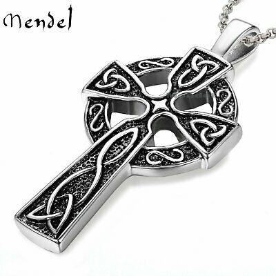 $9.98 • Buy Mens Celtic Cross Necklace Pendant 24  Chain Stainless Steel Irish Knot Silver