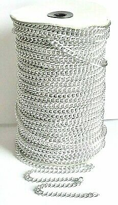 £4.39 • Buy Curb Link CHAIN 7mm X 6mm -  Silver Tone - 3 Or 5 Metres
