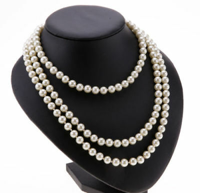 Girls Ladies Long Pearl Necklace Faux Rope String Beaded Chain Fresh Water 150cm • 2.99£