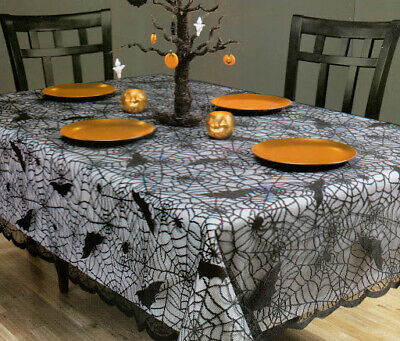 $22 • Buy Halloween Rectangle Tablecloth 52 X 70 Spider Web Black Lace Scalloped Edges