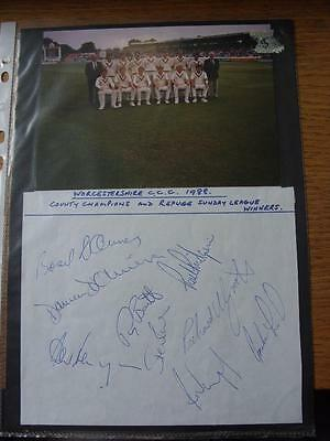 1988 Cricket Autograph Sheet: Worcestershire - 9 Signatures [With Actual Team Gr • 9.99£