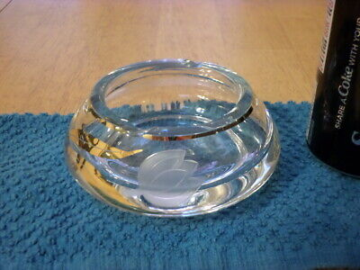 £32.92 • Buy ETCHED FLOWER LOGO, Clear Glass Ashtray, TALL & ROUND, Vintage USA #1950's Yrs.