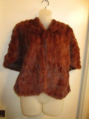 $52.15 • Buy Vintage Fur Shawl Wrap Chocolate Brown Mink Rabbit Cover Up Winter Warm Chic