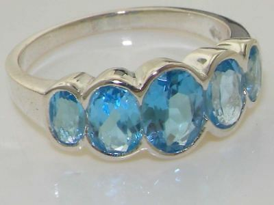 EXQUISITE Solid 925 Sterling Silver Natural Blue Topaz Ring - English Hallmark • 79£