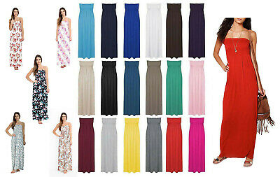 AU14.43 • Buy Womens Strapless Maxi Dress Ladies Sheering Boob Tube Bandeau Long Lot Size 8-22