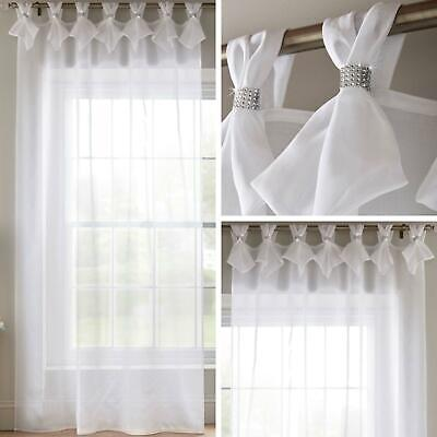£16.95 • Buy White Voile Curtain Diamante Sparkle Tab Top Pleated Panels Bling Sheer Voiles